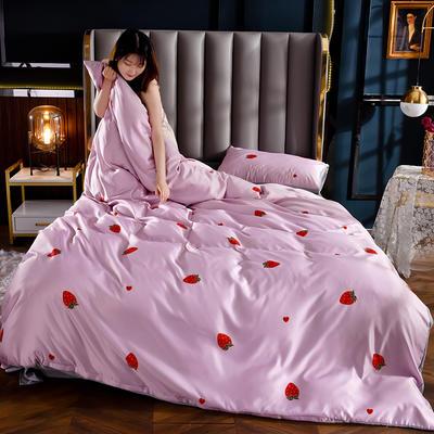 2020新款-水洗冰絲真絲印花四件套 床單款三件套1.2m(4英尺)床 金草莓-粉