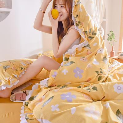 2020新款-水洗真丝韩版双层花边四件套-大模特 床单款三件套1.2m(4英尺)床 梨与梦