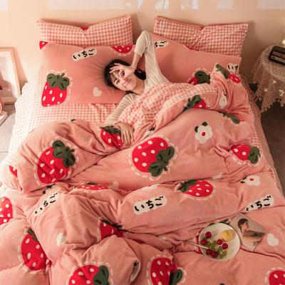 2020冬季新款-牛奶绒印花四件套 1.2床单款三件套 花朵草莓