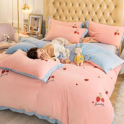 2020冬季新款-牛奶绒宽边刺绣四件套 1.2m床单款三件套 甜蜜草莓-粉蓝