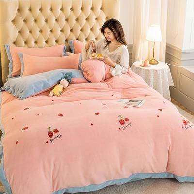 2020冬季新款-牛奶绒宽边刺绣四件套 1.5m床单款四件套 甜蜜草莓-粉蓝