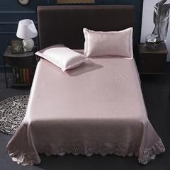 600D可机洗蕾丝床单款冰丝席三件套 250*250 豆沙