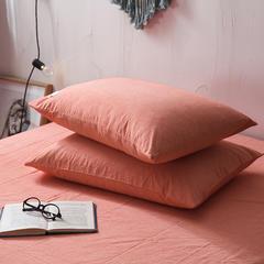 2018新款色织水洗棉枕套 48cmX74cm 巴西桔