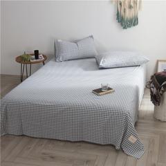 2018新款色织水洗棉单床单 245cmx270cm 水蓝小格
