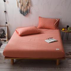 2018新款色织水洗棉单床笠 120cmx200cm+25cm 巴西桔