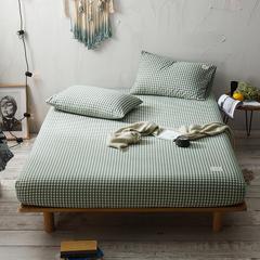 2018新款色织水洗棉单床笠 180cmx200cm+25cm 小方绿