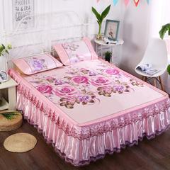 2018能好家纺 印花床裙冰丝席三件套 冰丝凉席可脱卸床裙款空调软席 1.5m(5英尺)床 粉玫瑰