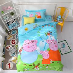 能好家纺 学生儿童全棉133 72大版花三件套 北欧风格子条纹套件 1.2m(4英尺)床 小猪佩奇