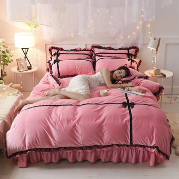 韩版蕾丝水晶绒—遇见 标准(1.5m床-1.8m床) 粉色