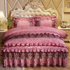 2018欧式宫廷天鹅绒夹棉系列床裙四件套 1.2m床(四件套) 粉玉