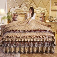 2018欧式宫廷天鹅绒夹棉系列床裙四件套 1.5m床(四件套) 金驼-做