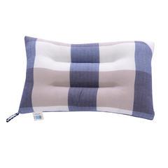 全棉水洗羽丝绒枕头水洗棉枕芯 蓝灰大格