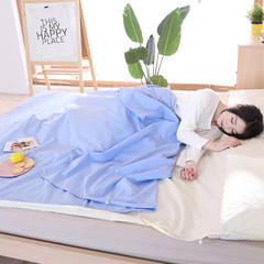 旅行纯棉隔脏睡袋 全棉床单便携成人旅游宾馆酒店卫生双人睡袋 蓝米120*220