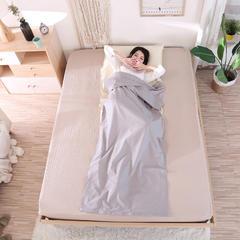 旅行纯棉隔脏睡袋 全棉床单便携成人旅游宾馆酒店卫生双人睡袋 灰米80*220