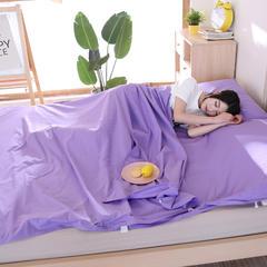 旅行隔脏纯棉睡袋 便携式成人全棉纯色酒店宾馆户外单双人睡袋床 紫色120*220