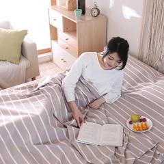 水洗棉旅行睡袋内胆纯棉便携式室内酒店宾馆隔脏户外野营双人睡袋 棕条纹180*220
