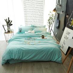 水洗棉加厚四件套系列(花漾年华) 标准(1.5-1.8m)床 绿