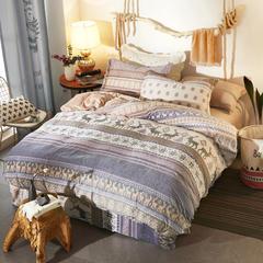 雕花绒四件套 标准1.5m-1.8m床 暖阳冬阳咖