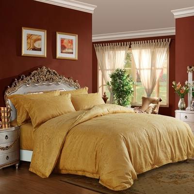 60长绒棉贡缎提花宾馆四件套 1.2m(4英尺)床 金色