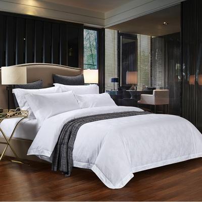 60长绒棉贡缎提花宾馆四件套 1.2m(4英尺)床 牡丹-白