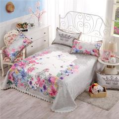 600D机洗床单款冰丝席三件套(花卉) 250*250 1 公主花境