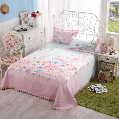 600D机洗床单款冰丝席三件套(花卉) 250*250 5 爱丽丝花园