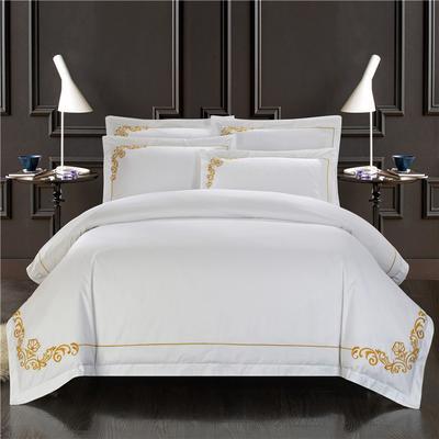 60支酒店贡缎刺绣床品绣花款四件套 1.2m(4英尺)床 皇家风范-黄