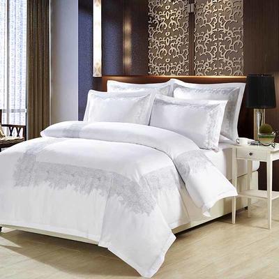 60支酒店贡缎刺绣床品四件套 1.2m(4英尺)床 悠然之雅
