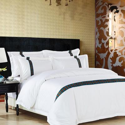 60S贡缎提花酒店风四件套-织带款 2.0m(6.6英尺)床 锦绣添香(兰)