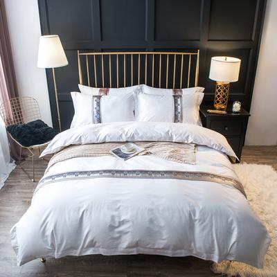 60S贡缎提花酒店风四件套-织带款 1.2m(4英尺)床 卡地亚--银