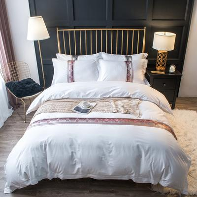 60S贡缎提花酒店风四件套-织带款 1.2m(4英尺)床 卡地亚--红