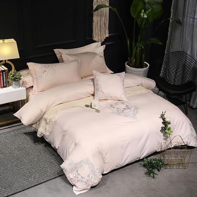 2019新品四季系列四件套--纯天然色纺面料 1.8m(6英尺)床 轻纱蔓舞-粉玉