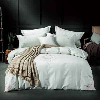 2019新品四季系列四件套--纯天然色纺面料 1.8m(6英尺)床 轻纱蔓舞-灰绿