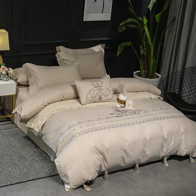 2019新品四季系列四件套--纯天然色纺面料 1.8m(6英尺)床 望绣碧帘-卡其