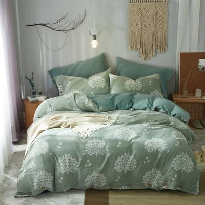 2019新款60s双层纱色织提花四件套 1.5m(5英尺)床 孔雀绿