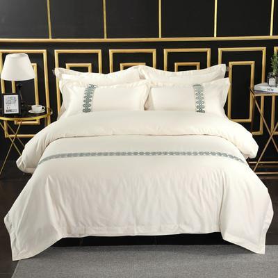 2019新款-无印棉品60s裸棉四件套-单条款-白色四件套-酒店四件套 1.5m-1.8m床(床单款) 千千情结