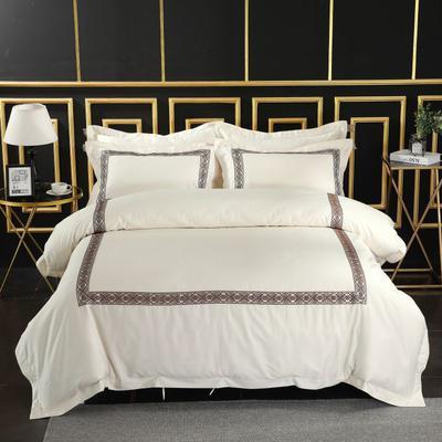 2019新款-无印棉品60s裸棉四件套-三条款-白色四件套-酒店四件套 1.5m-1.8m床(床单款) 冰凝.咖