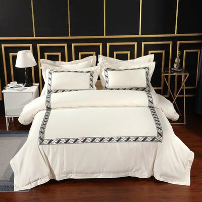 2019新款-无印棉品60s裸棉四件套-三条款-白色四件套-酒店四件套 1.5m-1.8m床(床单款) 幻珊