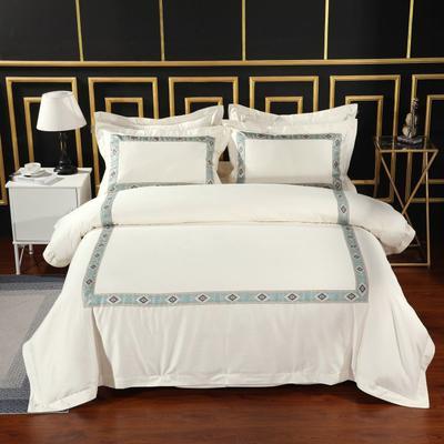 2019新款-无印棉品60s裸棉四件套-三条款-白色四件套-酒店四件套 1.5m-1.8m床(床单款) 梦域灵韵