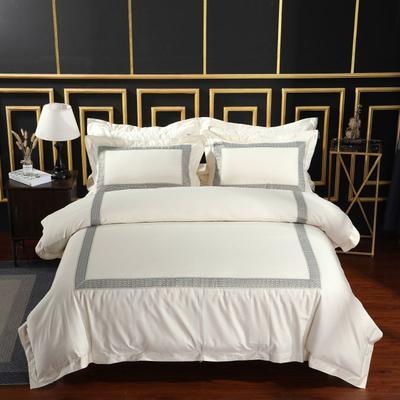 2019新款-无印棉品60s裸棉四件套-三条款-白色四件套-酒店四件套 1.5m-1.8m床(床单款) 莫斯卡.黄