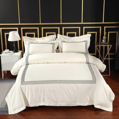 2019新款-无印棉品60s裸棉四件套-三条款-白色四件套-酒店四件套 1.5m-1.8m床(床单款) 莫斯卡.金