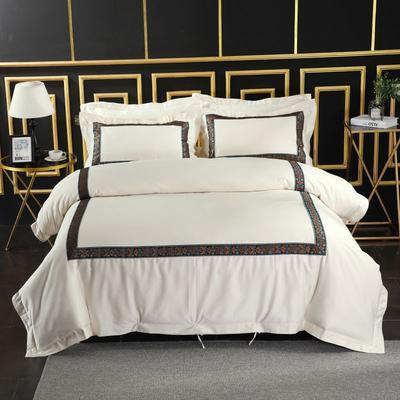 2019新款-无印棉品60s裸棉四件套-三条款-白色四件套-酒店四件套 1.5m-1.8m床(床单款) 锦绣年华