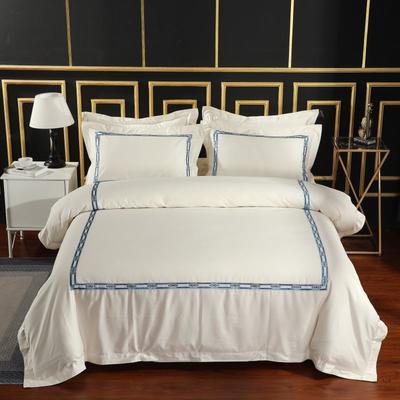 2019新款-无印棉品60s裸棉四件套-三条款-白色四件套-酒店四件套 1.5m-1.8m床(床单款) 祥云.蓝