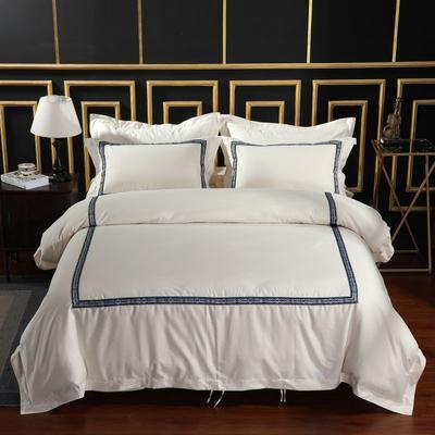 2019新款-无印棉品60s裸棉四件套-三条款-白色四件套-酒店四件套 1.5m-1.8m床(床单款) 心心相印.蓝