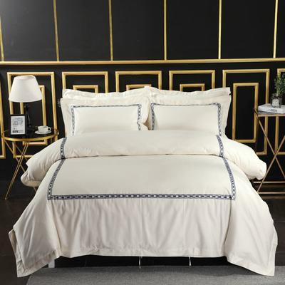 2019新款-无印棉品60s裸棉四件套-三条款-白色四件套-酒店四件套 1.5m-1.8m床(床单款) 寻梦山林.蓝