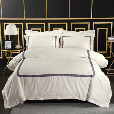 2019新款-无印棉品60s裸棉四件套-三条款-白色四件套-酒店四件套 1.5m-1.8m床(床单款) 紫藤花