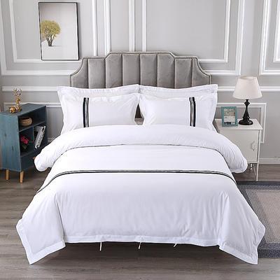 60S贡缎提花酒店风四件套-织带款 1.2m(4英尺)床 半寸时光