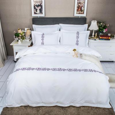 2020新款60s长绒棉贡缎绣花四件套 1.5m床单款四件套 紫色诱惑