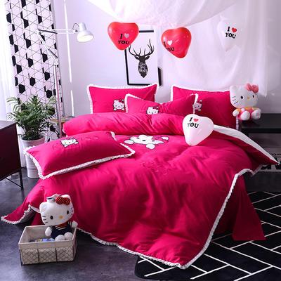 2020新款四件套 绣花四件套 床裙款 被套150*200cm床裙150*200 Kiss猫—红