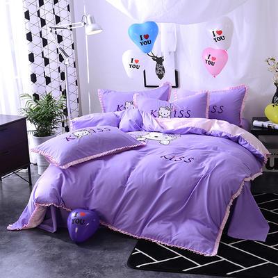 2020新款四件套 绣花四件套 床裙款 被套150*200cm床裙150*200 Kiss猫—紫